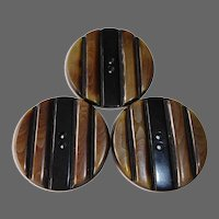 Art Deco Large Laminated & Carved Celluloid Buttons Set of 3