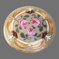 Victorian Gilt Brass Enameled & Pierced Roses Button