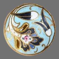 Art Nouveau Gilt Brass Matte Enamel Button