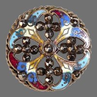 Victorian Brass Enamel & Steels Pierced Button