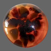 Art Glass Tortoise Shell Poured Glass Dome Button