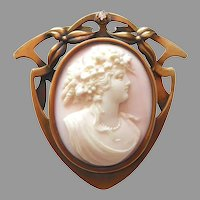 Victorian 14k Rosalyn Shell Cameo Art Nouveau Frame w Diamond