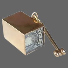 14k Mad Money Dimensional Box Charm w Folded $1 Bill Inside
