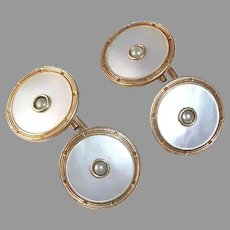 Krementz Rolled Gold Plate Mother of Pearl Cufflinks w Inset Seed Pearl