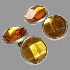 Art Deco Double Sided Vauxhall Glass Cufflinks w Faceted Angle Cut Tops