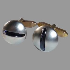 Art Deco Cufflinks w Cobalt Glass Inset