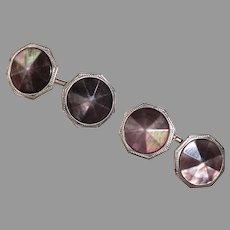 Art Deco Octagonal Domed & Faceted Mother of Pearl Double Sided Cufflinks