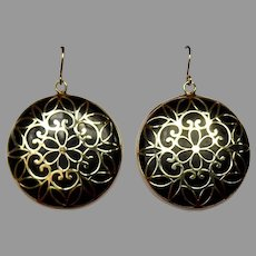 Onyx Disk Drop Earrings w 10k Filigree Overlay