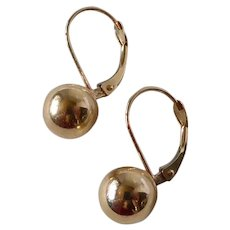 14k Ball Lever Back Pierced Earrings