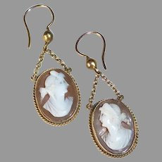Antique Victorian 9k Gold Cameo Pierced Earrings