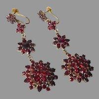 Victorian GF Bohemian Rose Cut Garnet Three Tier Earrings