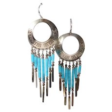 Southwest Sterling Chandelier Earrings with Turquoise Tube Beads
