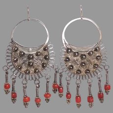 Ethnic Nepali Bold Silver Earrings w Coral Drops