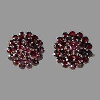 Gold Filled Bohemian Rose Cut Garnet Tiered Earrings