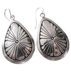 Sterling Teardrop Pierced Earrings Southwest Style