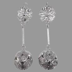 Sterling Filigree Ball Crop Pierced Earrings