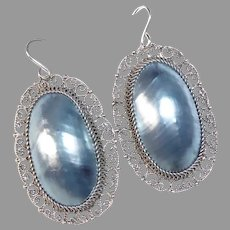 Sterling Filigree Earrings w Large Gray Mabe Pearl