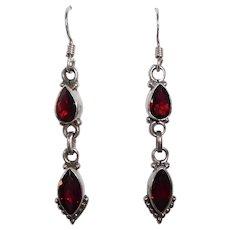 Sterling Pierced Drop Earrings w Faceted Garnets