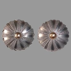 Granulated Balinese Sterling Dome Pierced Earrings
