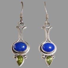 Sterling Drop Earrings Lapis & Peridot
