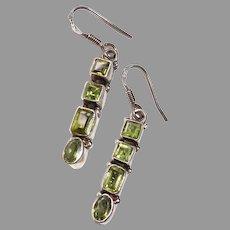 Sterling & Peridot Drop Pierced Earrings