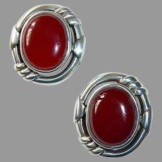 Sterling & Carnelian Cabochon Pierced Post Earrings
