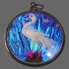 Rare Double Sided Antique Victorian Fob Charm Feather Birds & Morpho Butterfly Wing