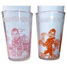 Howdy Doody Drinking Glasses c1953 Set of 2