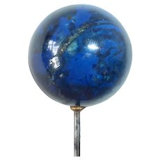Edwardian Hat Pin w Large Natural Stone Orb w Crystal Matrix