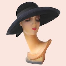 1960s French Canadian Wide Brim Black Velour Hat by Andre
