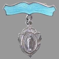 Sterling & Enamel 2 pc Mary Medal c1930s