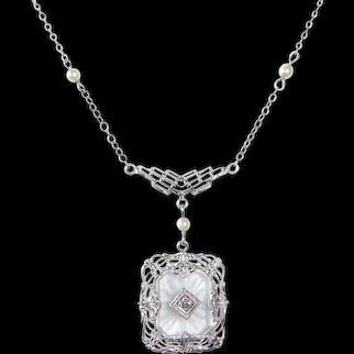 Art Deco 10k Camphor Glass & Diamond Pendant Necklace 14k Chain