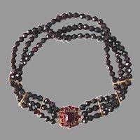 14k Early Victorian Rose Gold Garnet & Garnet Bead Dog Collar Necklace