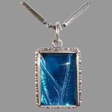 Art Deco Sterling & Iridescent Blue Morpho Butterfly Wing Pendant Necklace