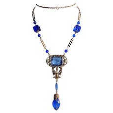 Art Deco Gilt Blue Jewel Flapper Necklace