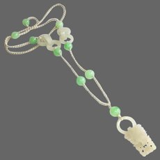 Chinese Carved Jade, Bead and Silk Macrame Necklace