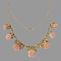 14k Victorian Carved Angelskin Coral Roses Necklace