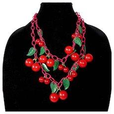 Iconic Art Deco Bakelite Double Strand Cherries Necklace