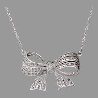 Retro Sterling & Marcasite Sculptural Bow Necklace