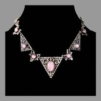 Art Deco Silver Plated Faux Star Sapphire Necklace
