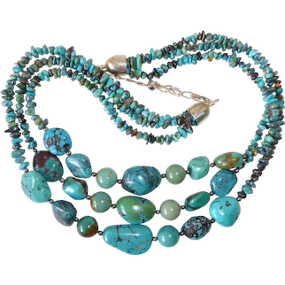 Chunky Turquoise Nugget Triple Strand Necklace