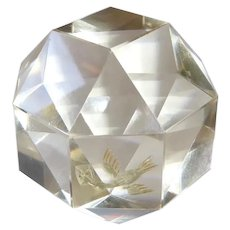 Octagonal Cut Glass Paperweight with Intaglio Bird
