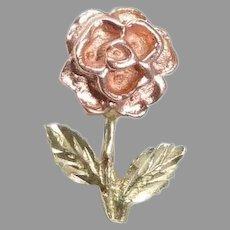 14k Rose & Green Gold Petite Sculptural Rose Pendant