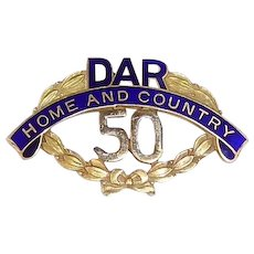 "14k Gold & Cobalt Enamel DAR Commemorative 50 Year Pin ""Home & Country"""