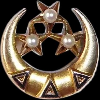 Delta Delta Delta Crescent & Stars Pin w Seed Pearls