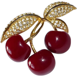 Joan Rivers Deep Red Figural Cherries Pin w Rhinestone Studded Leaves