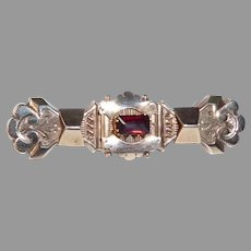 Victorian Gold Filled Bar Pin Faux Garnet