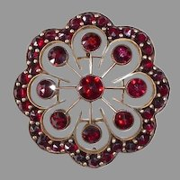 Victorian Gold Filled Bohemian Rose Cut Garnet Pin