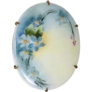 Victorian Hand Painted Porcelain Forget-Me-Nots Signed