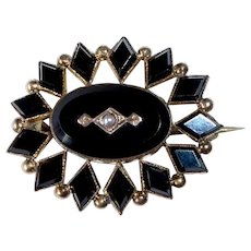 Victorian Gold Filled Onyx Mourning Pin w Seed Pearl